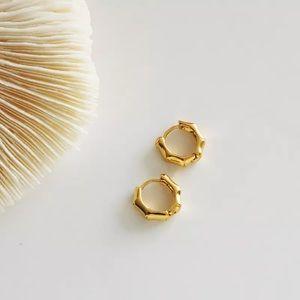 18k Gold Bamboo Huggie Earrings